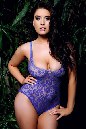 Kelly Andrews in 'Lacy Indigo Bodysuit' via Kelly Andrews Official